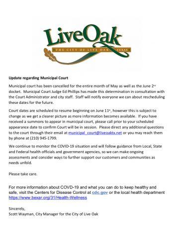 Update on Municipal Court May 15