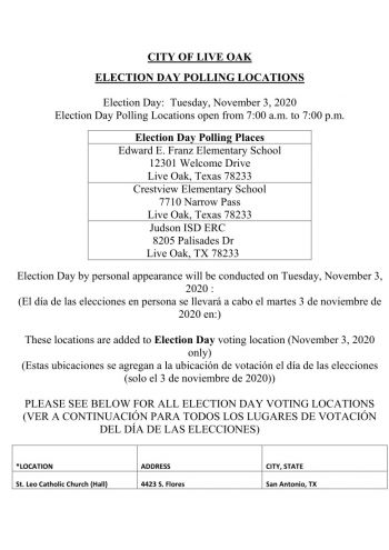 Election Day Voting Information