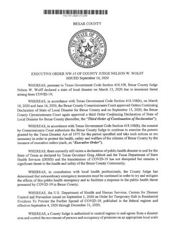 Bexar County Executive Order NW-15