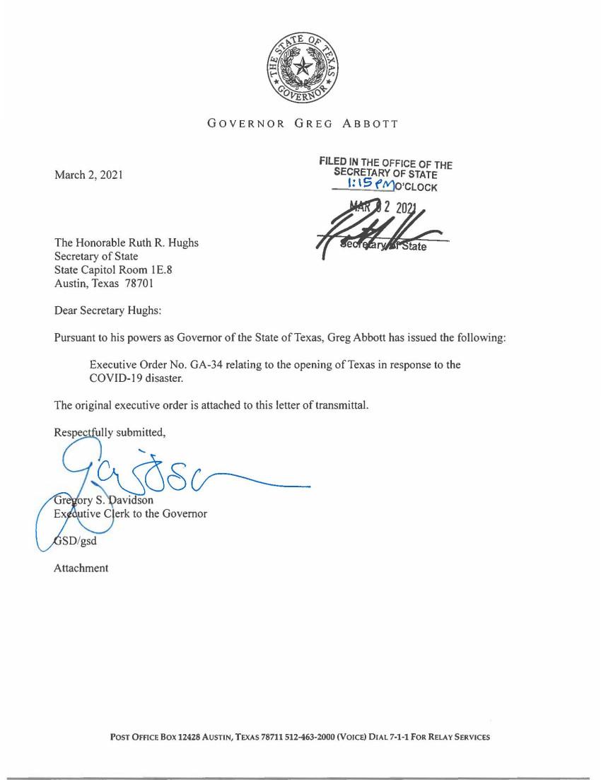 Bexar County Executive Order GA-34